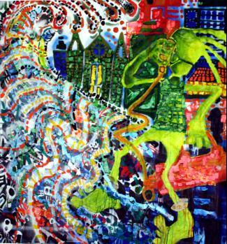 Antes da onda o suspiro.(Técnica Mista, colagem e pintura sobre tela). Obra parte da exposição Colera Antropofágica,(1,20 cmx1,20cm) Galeria Homero Massena - ES/Brasil-28/07/2008