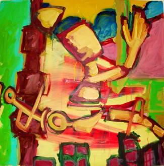 Caminho Aberto. Acrilica sobre tela(90cmx90cm)-Acervo pessoal. Obra produzida para o Projeto quanto mais arte Melhor-UFES-(04/05/2007)