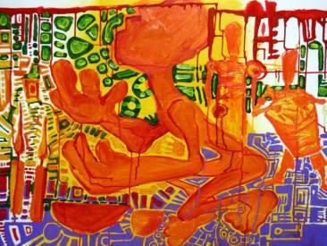 Ebó pra Luz-Acrilica sobre tela (90cmx70cm)-Acervo pessoal. Obra produzida para o Projeto quanto mais arte Melhor-UFES-(12/08/2005)