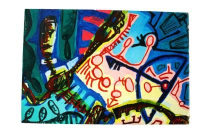 Dança de flecha Acervo pessoal. Acrilica sobre madeira(80cmx60cm) Obra produzida para o Projeto quanto mais arte Melhor-UFES-(07/09/2006)